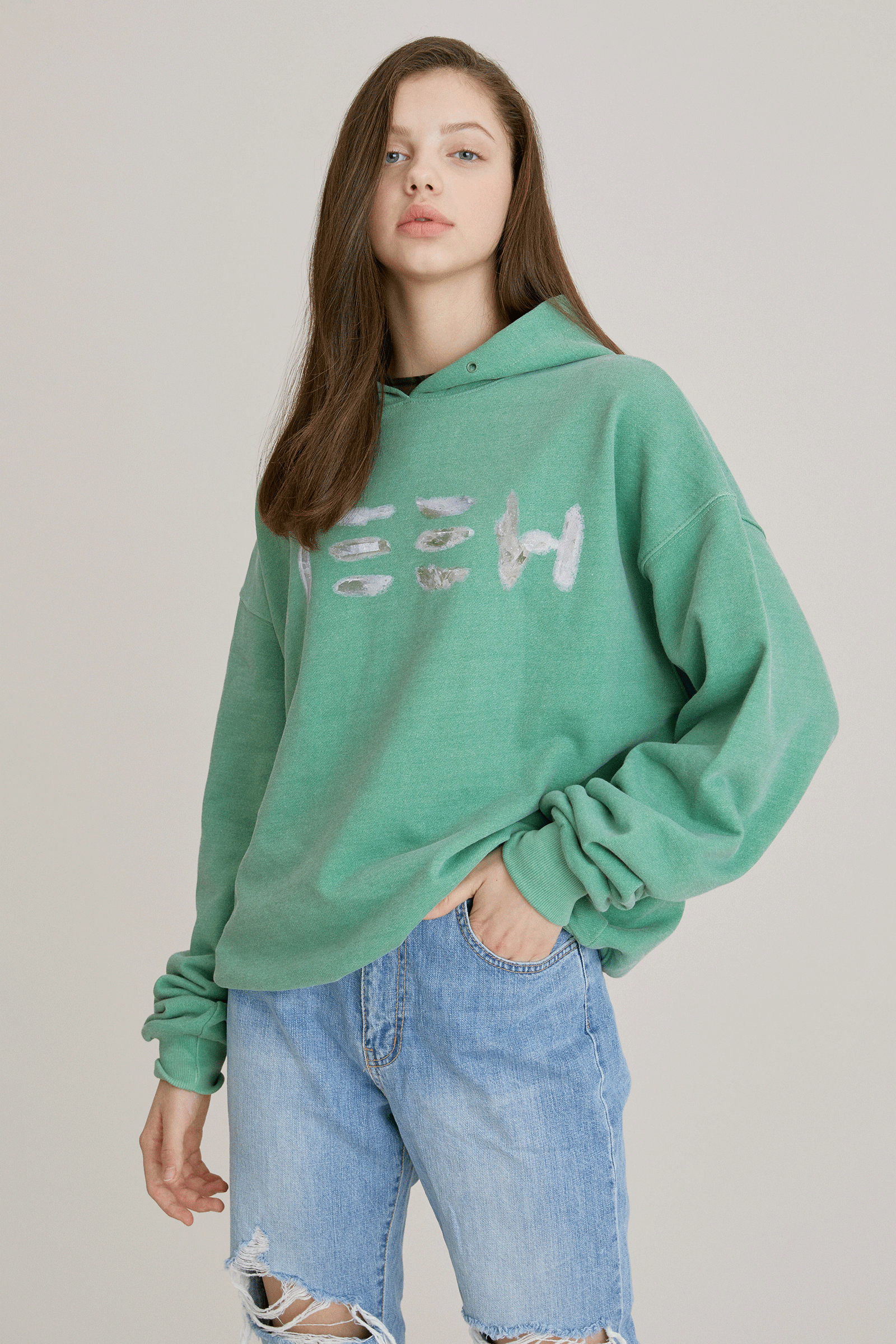=SIZE 1 SOLD OUT= Crystal Hoodie_GREEN